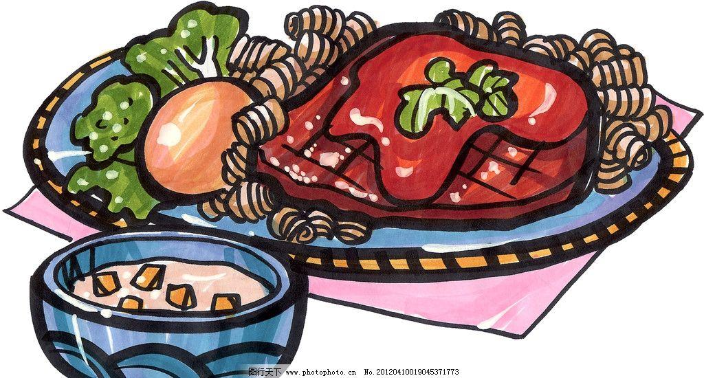 手绘牛排 手绘美食 马克笔手绘美食