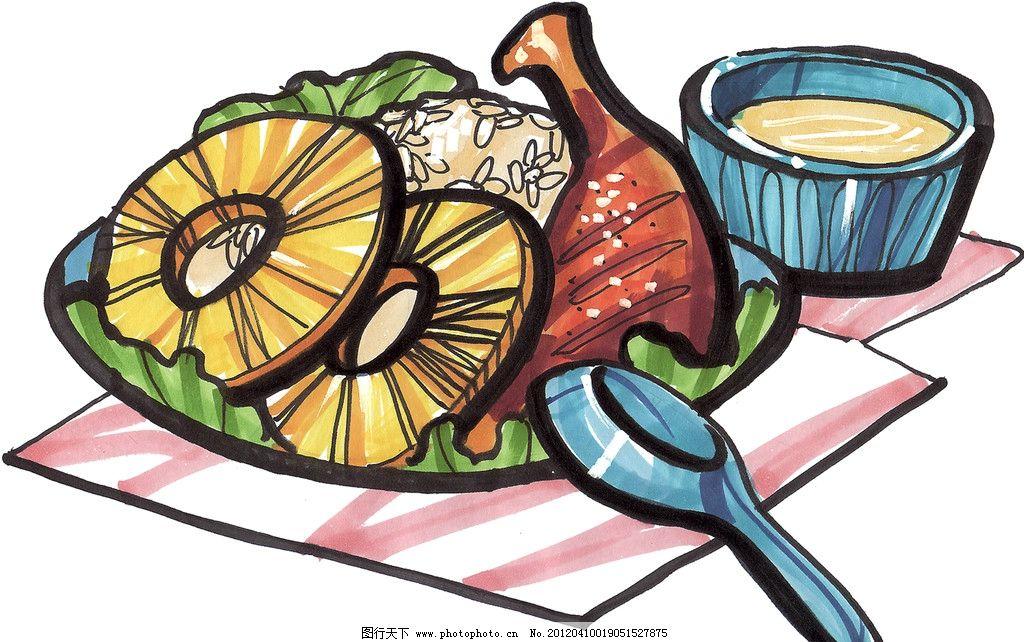 手绘西餐美食 鸡腿 菠萝 手绘美食 马克笔手绘美食 餐饮美食 手绘效果