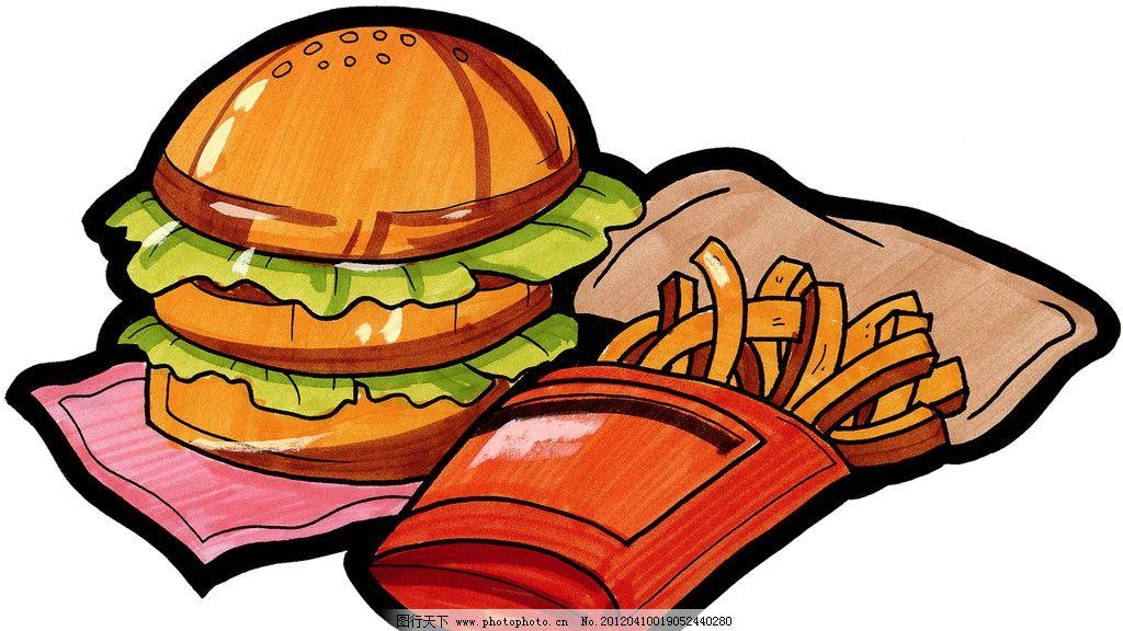 手绘西餐美食 汉堡图片