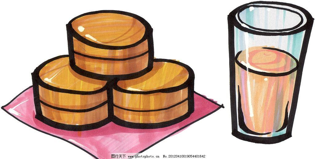 手绘早餐面包 果汁 手绘美食 马克笔手绘美食 餐饮美食 手绘效果美食