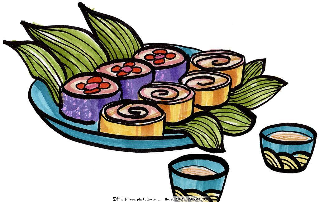 手绘寿司 手绘美食 马克笔手绘美食