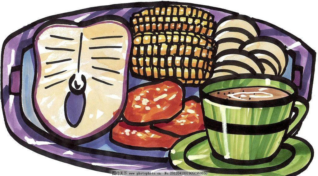 手绘西餐美食 鱼块 玉米 手绘美食 马克笔手绘美食 餐饮美食 手绘效果