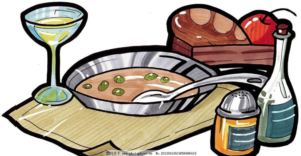 手绘西餐美食 手绘美食 马克笔手绘美食 餐饮美食 手绘效果美食图