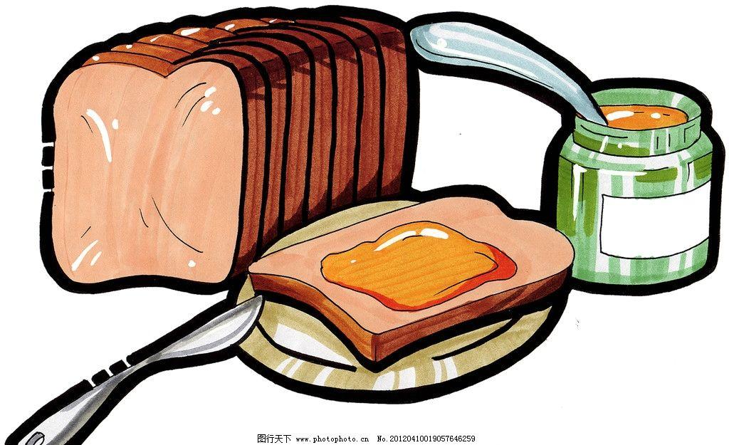 手绘面包 奶酪 手绘美食 马克笔手绘美食 餐饮美食 手绘效果美食图