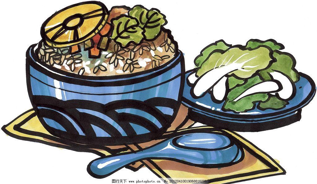 手绘美食 米饭 马克笔手绘美食 餐饮美食 手绘效果美食图 手绘 手绘