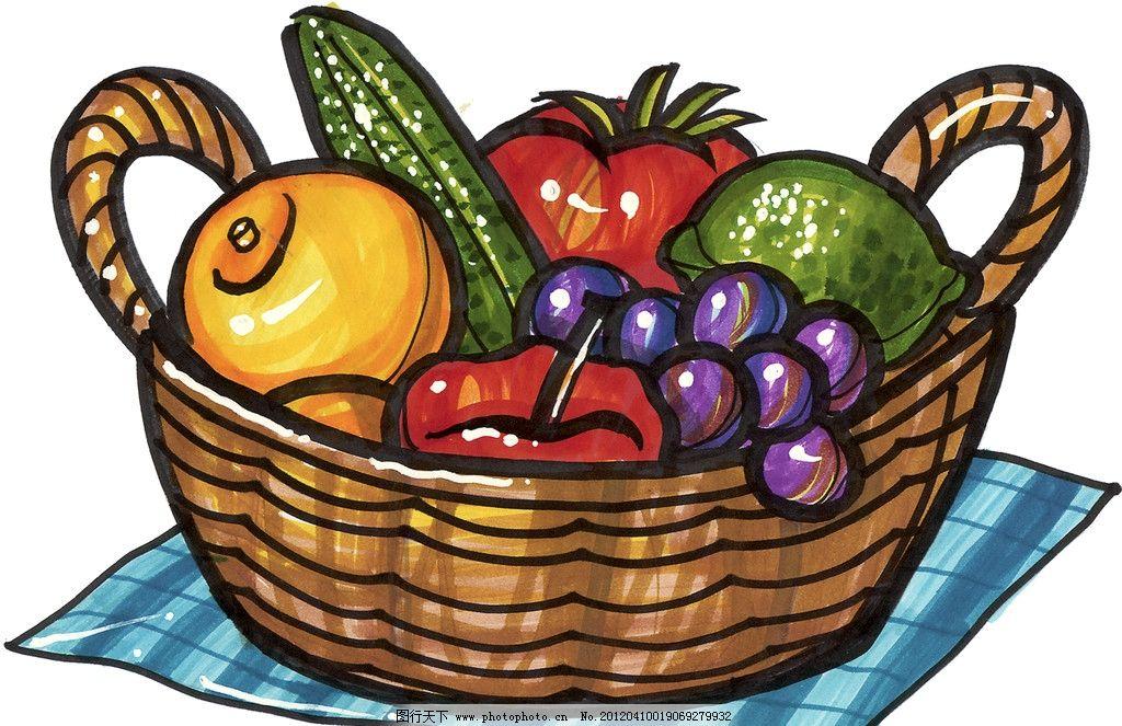 彩色美食马克笔手绘