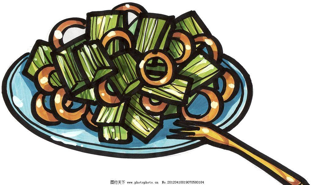 手绘鱿鱼圈 手绘美食 马克笔手绘美食 餐饮美食 手绘效果美食图 手绘