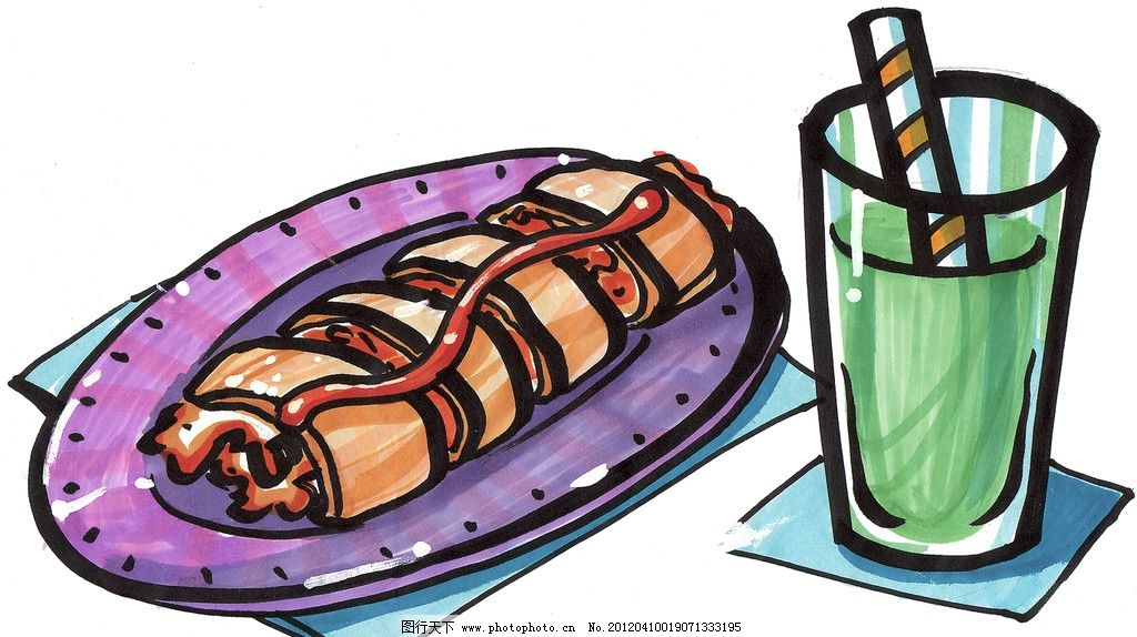 烤鱿鱼 手绘美食 马克笔手绘美食 餐饮美食 手绘效果美食图 绘画书法