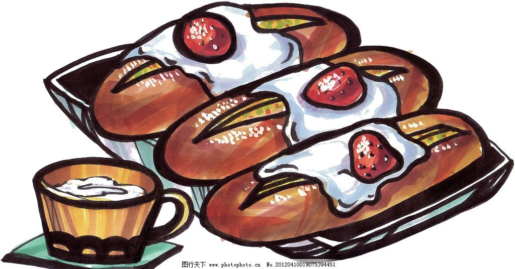 手绘面包 手绘美食 马克笔手绘美食