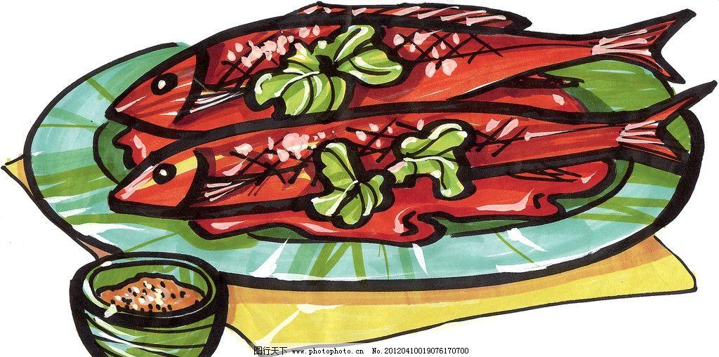 蒸鱼手绘 蒸鱼 手绘美食 马克笔手绘美食 餐饮美食 手绘效果美食图 绘