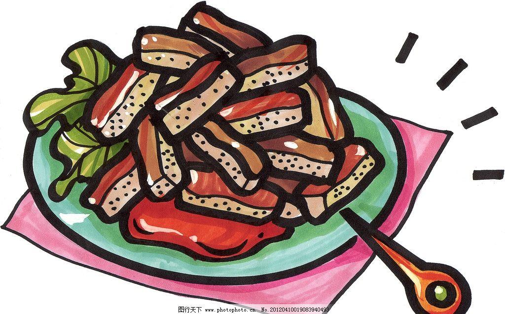 手绘美食 马克笔手绘美食 餐饮美食 手绘效果美食图 绘画书法 文化