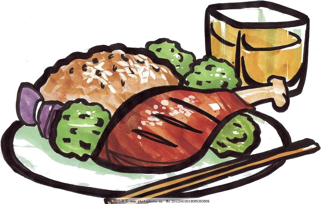 手绘西餐美食 鸡腿 手绘美食 马克笔手绘美食 餐饮美食 手绘效果美食