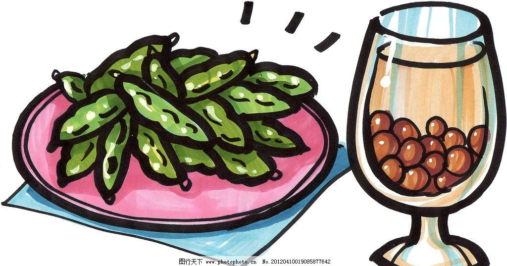 手绘美食 炒四季豆 马克笔手绘美食 餐饮美食 手绘效果美食图 绘画