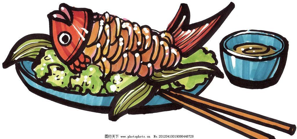 手绘鱼 炸鱼 马克笔手绘美食