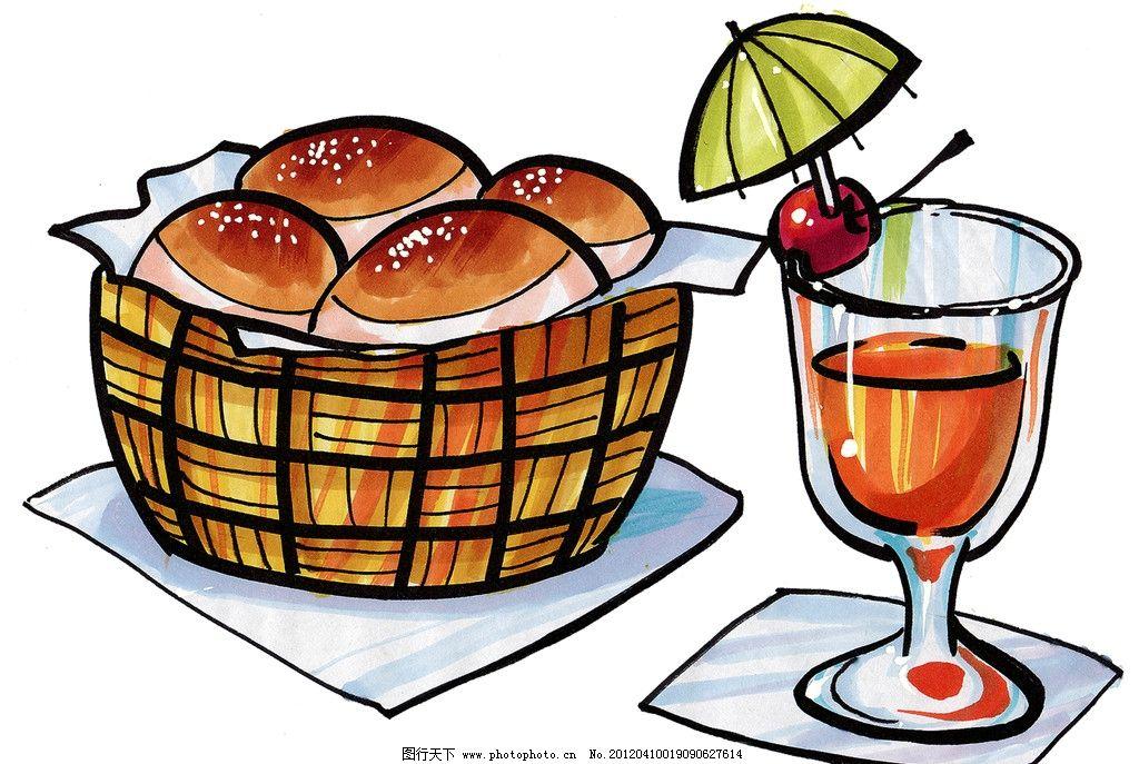 手绘美食 面包 果汁 马克笔手绘美食