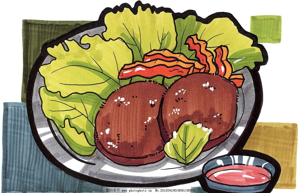手绘西餐美食 牛排 手绘美食 马克笔手绘美食 餐饮美食 手绘效果美食