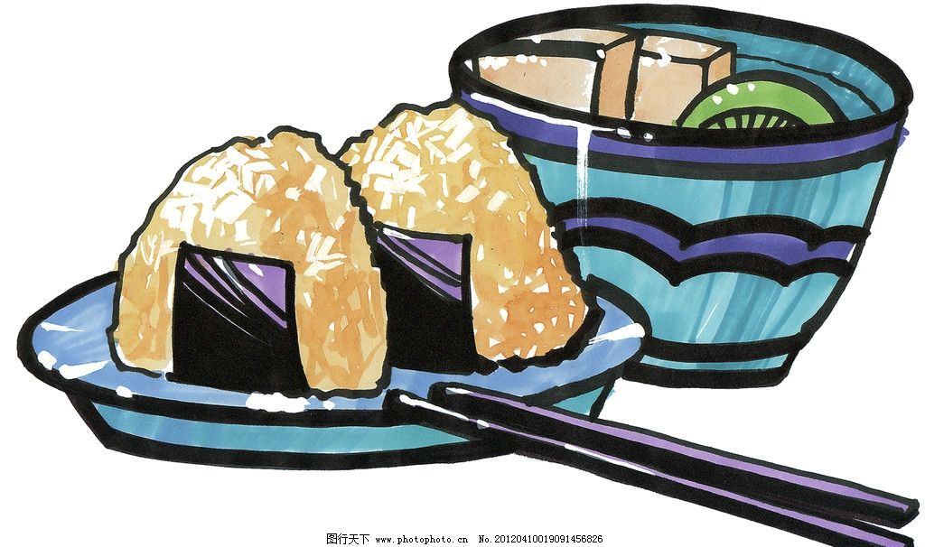 手绘粽子 手绘美食 马克笔手绘