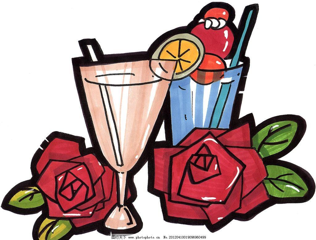 红玫瑰 手绘西餐美食 酒杯 手绘美食 马克笔手绘美食 餐饮美食 手绘