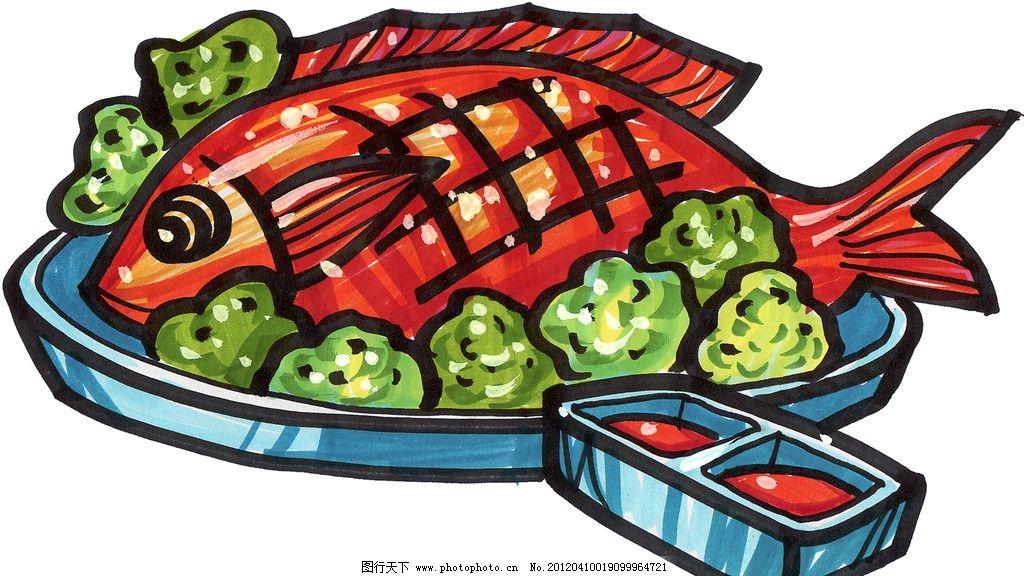 手绘炸鱼图片,鱼块 手绘美食 马克笔手绘美食 餐饮-图