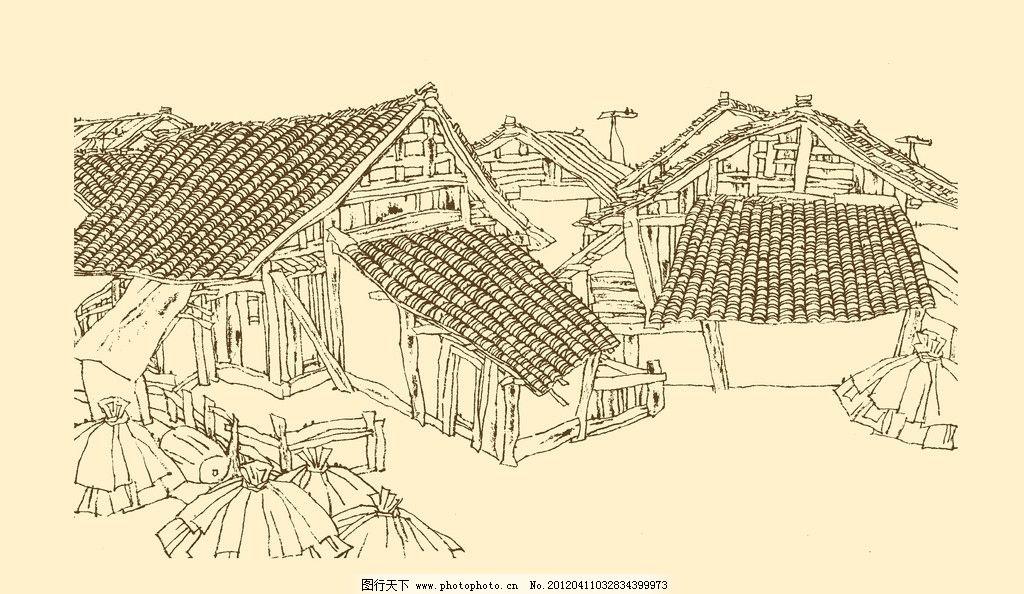 建筑 古建筑 线描 勾勒 线条 民居 速写 钢笔画 徽派建筑 白描皖南古