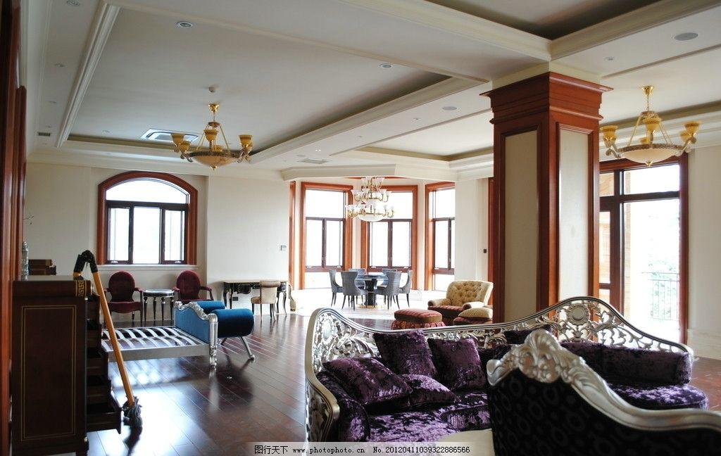 欧式卧室装潢 中式家具 欧式线条 石膏线 吊灯 装饰摄影 室内摄影