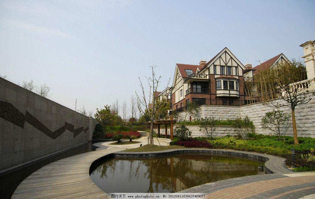 英伦风 英伦建筑 小区绿化 别墅小区 小区景观 欧洲 欧式建筑 水景