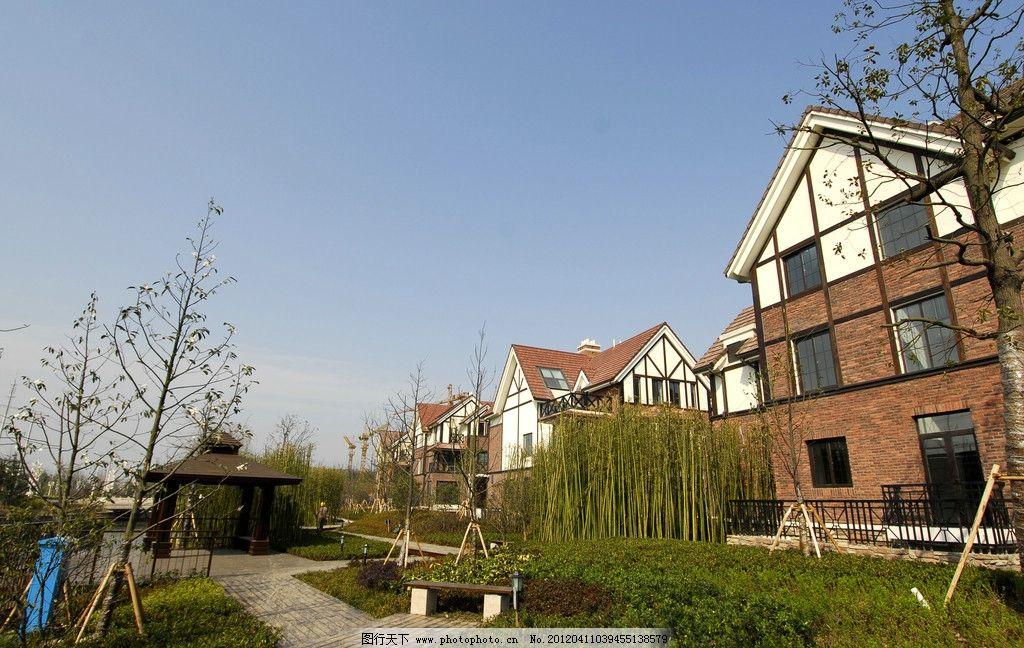 小区景观 欧洲 欧式建筑 花草 绿地 草地 欧式建筑别墅房地产小区