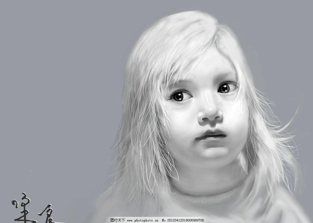 手绘小女孩 肖像 手绘 儿童 女孩 绘画书法 文化艺术 设计 300dpi jpg