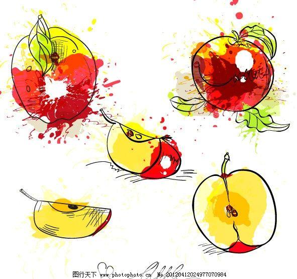涂鸦草图水果 绘画 苹果 矢量素材