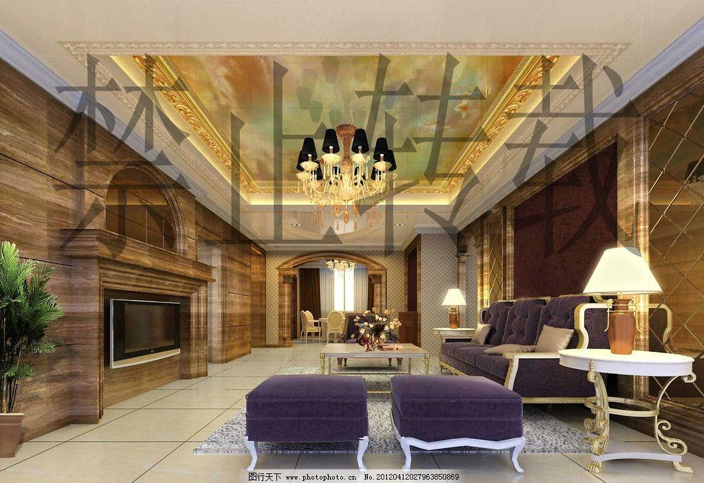 欧式客厅立体吊顶图片