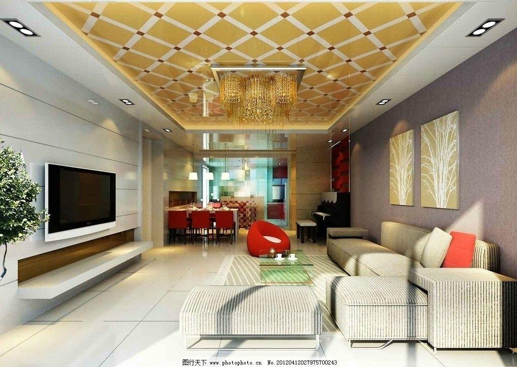 现代客厅 立体吊顶      欧式风格 沙发 电视 吊顶 室内设计 环境设计