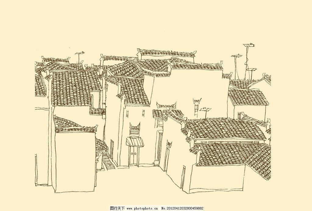 白描 构图 建筑 古建筑 线描 勾勒 线条 民居 速写 钢笔画 徽派建筑