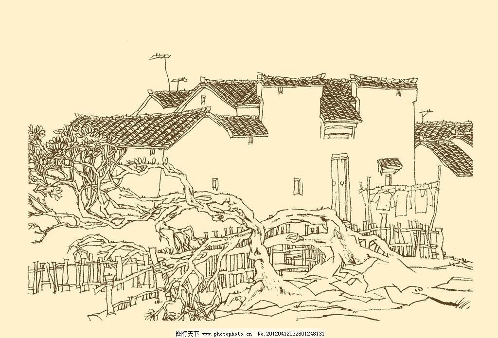 线条 民居 速写 钢笔画 徽派建筑 白描皖南古民居构图资料集 风景 psd