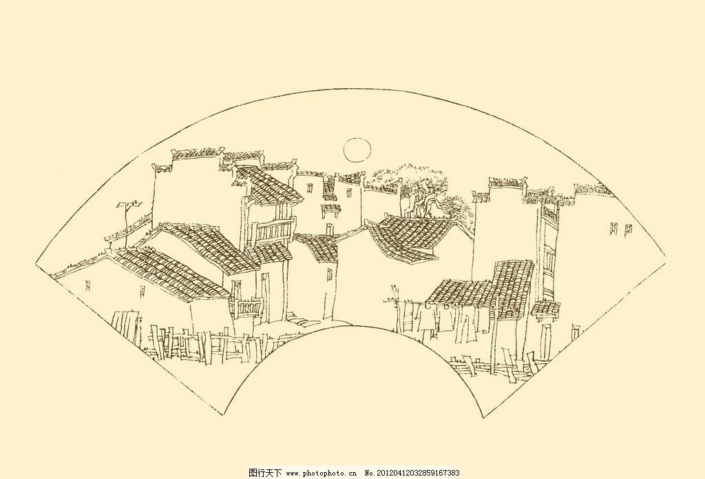 皖南古民居 白描 构图 建筑 古建筑 线描 勾勒 线条 速写 钢笔画