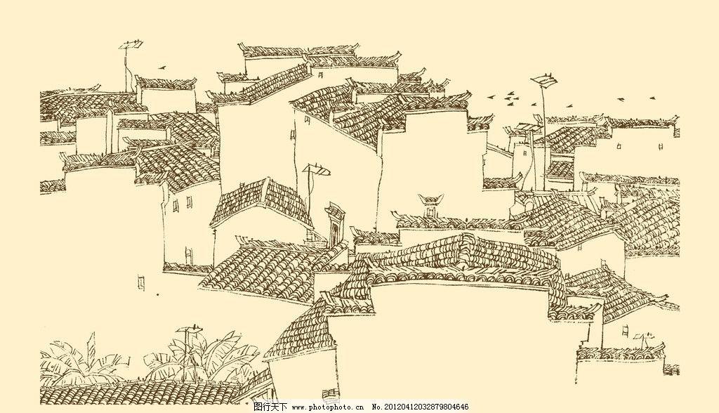 皖南古民居 白描 构图 建筑 古建筑 线描 勾勒 线条 速写 钢笔画图片