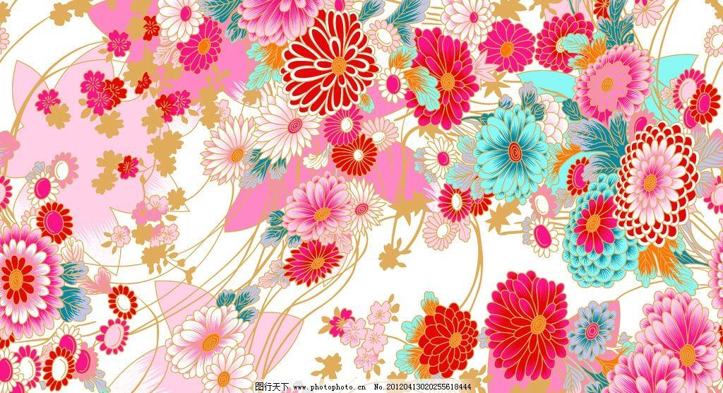 日式花纹 花 底纹 花布 大丽菊 樱花 背景底纹 底纹边框 设计 300dpi
