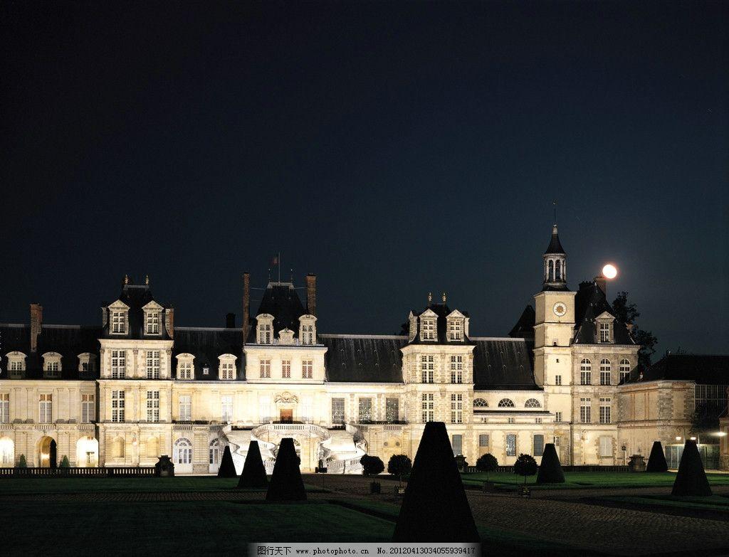 古堡夜色 月亮 夜色古堡 城堡 庄园 夜晚 庄园夜色 庄园古堡