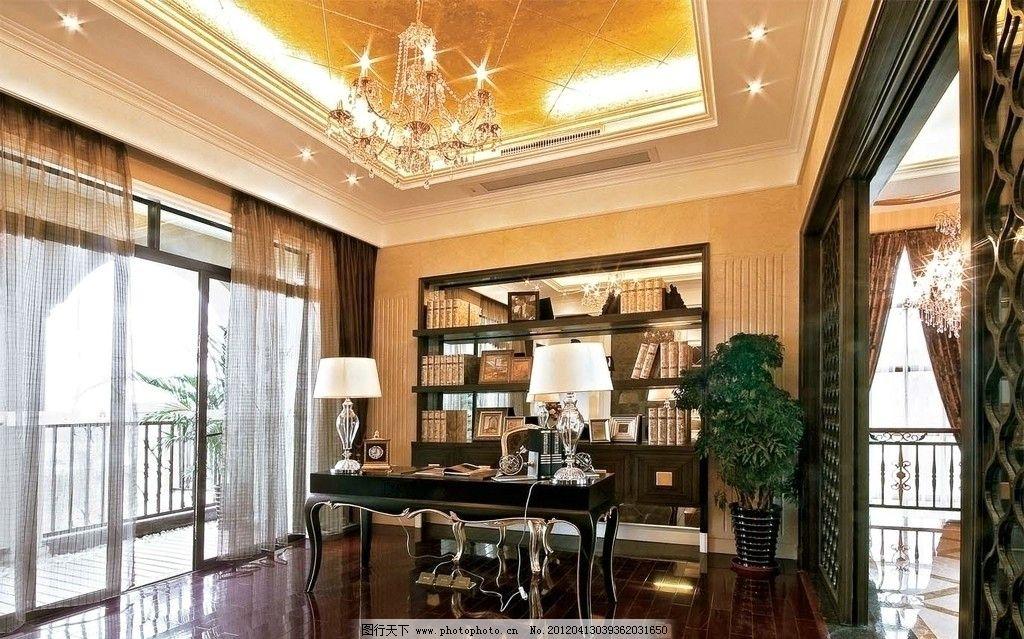 古典样板房 书房 书桌 阳台 样板房 精装修 室内摄影 装修 装饰 素材