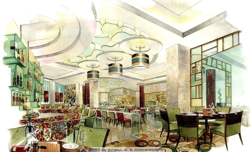 星级酒店咖啡厅手绘效果图图片