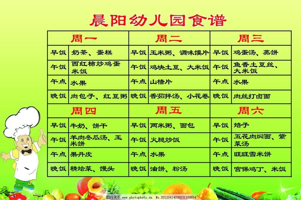 食谱安排表 卡通厨师 水果 表格 幼儿园食谱安排 展板模板 广告设计