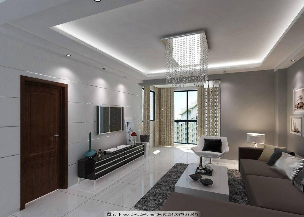 客厅效果图 背景墙 现代沙发 现代水晶灯 电视图片