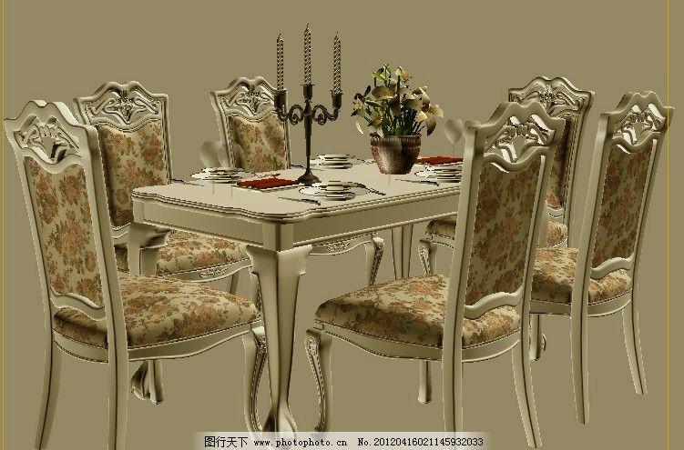 新古典餐桌 新古典 餐桌 欧式 白色 烛台 餐椅 室内模型 3d设计模型