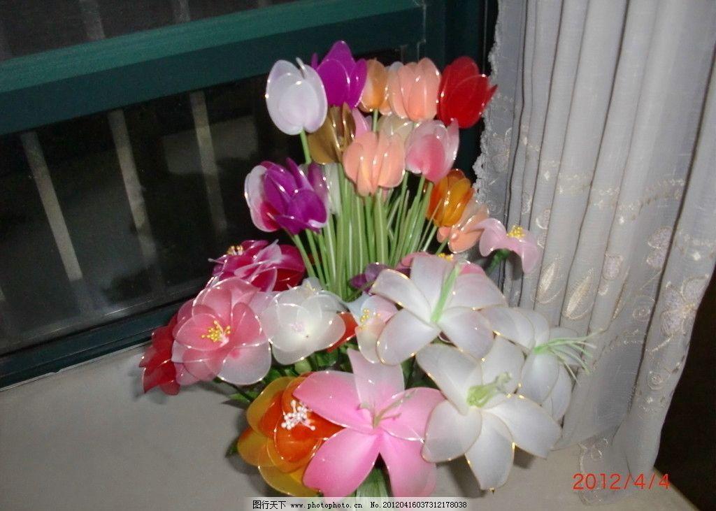 丝袜花 手工制作 郁金香 百合 山茶花 白色 粉色 橘色 红色 紫红色