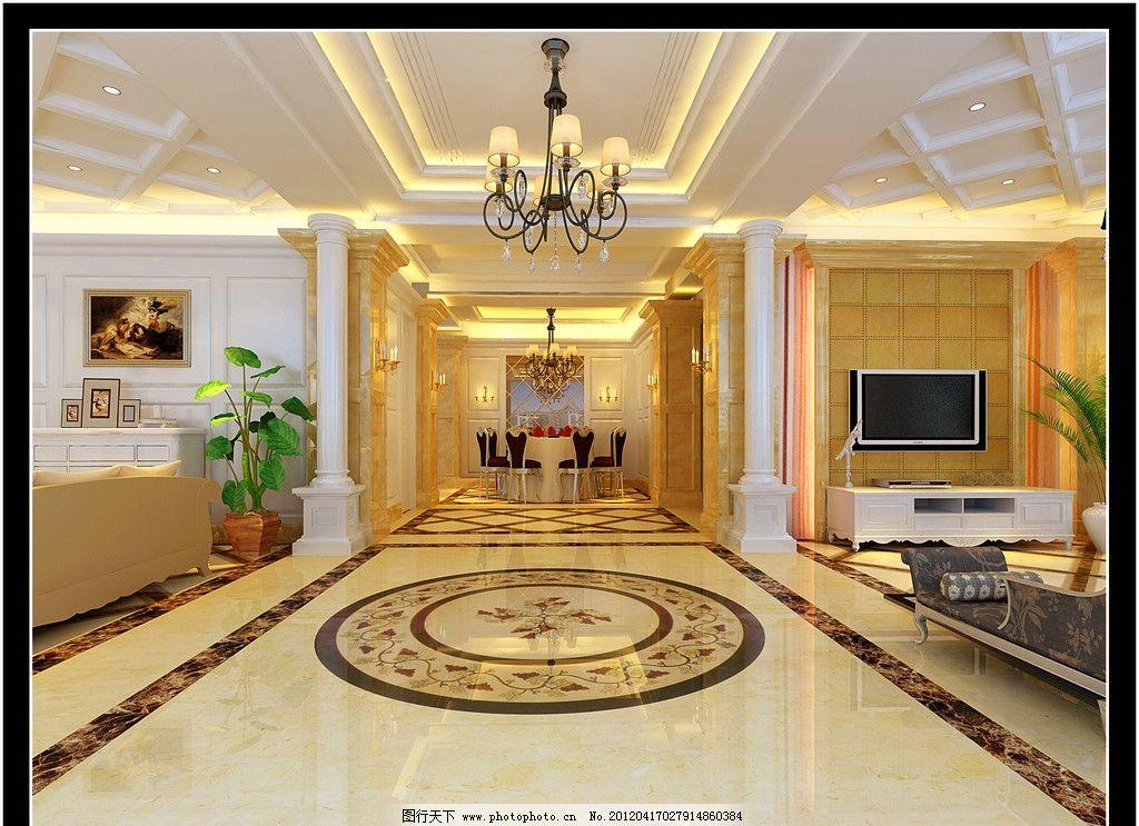 客厅设计效果图 自建房客厅设计 大理石拼花 罗马柱 欧式家具 沙发