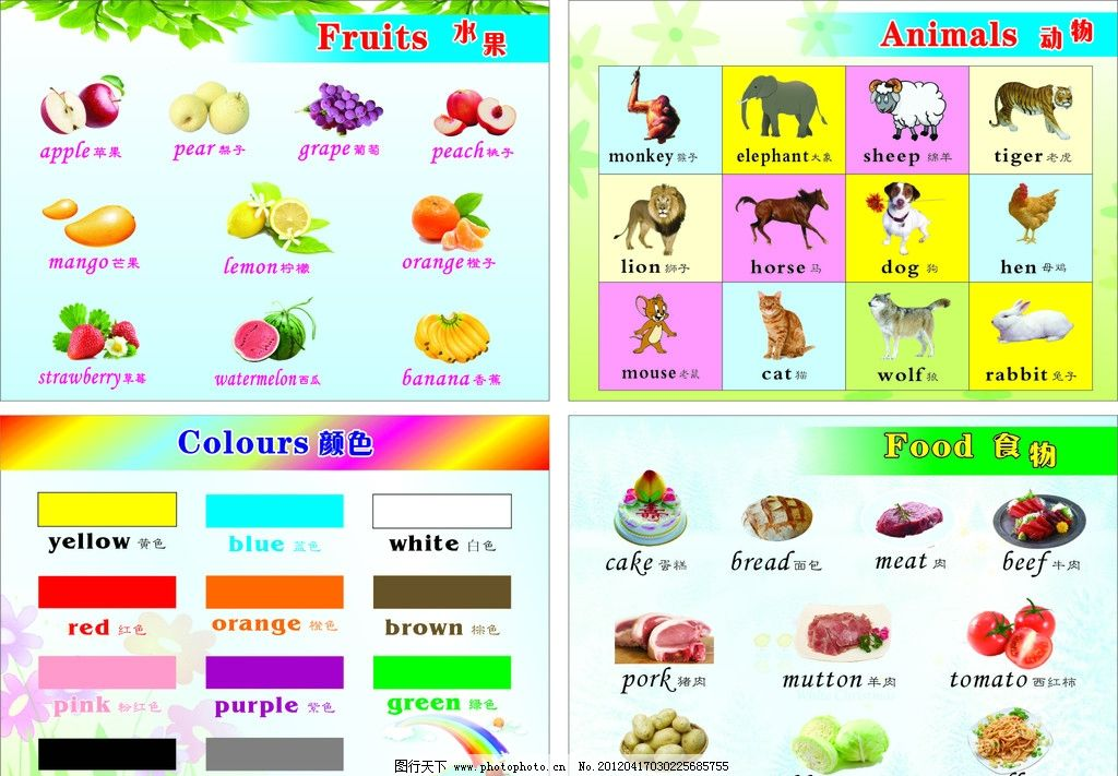 小学生英语海报 单词 水果 动物 颜色 食物 英语展板 展板模板