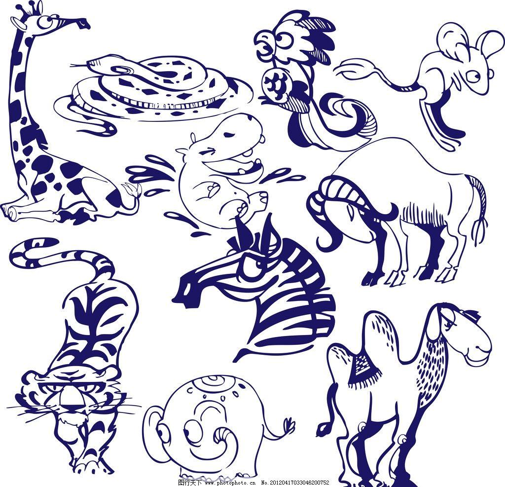 卡通大象手绘图