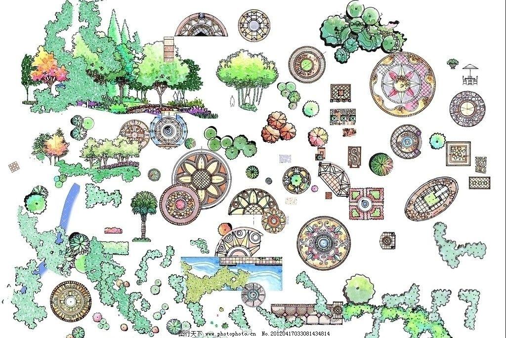 景观平面素材 景观设计 平面图 平面素材 素材 植物 铺装 环境设计图片