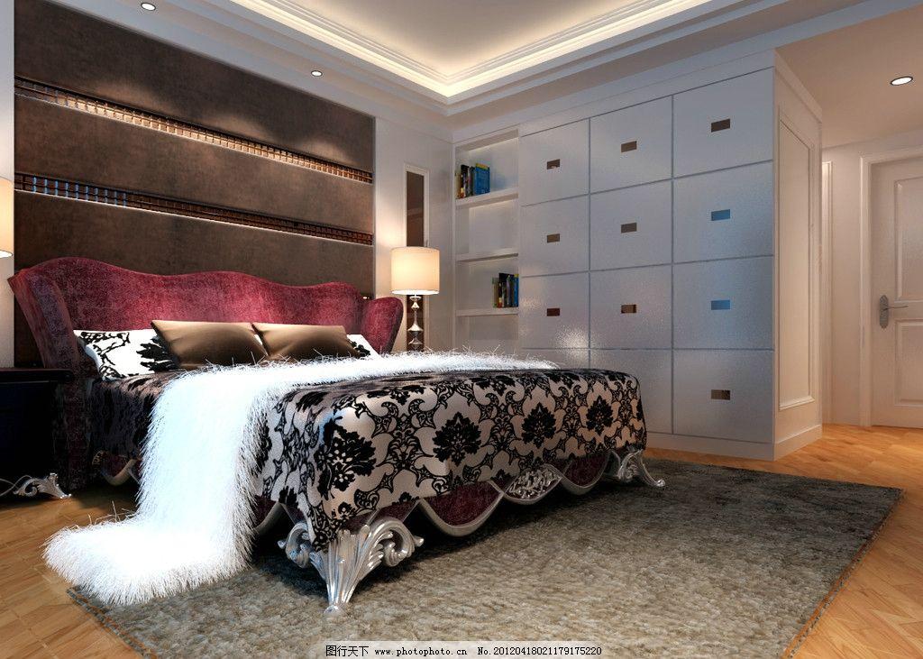 筒欧主人房效果图 欧式床 地毯 现代柜 木地板 室内模型 3d设计模型