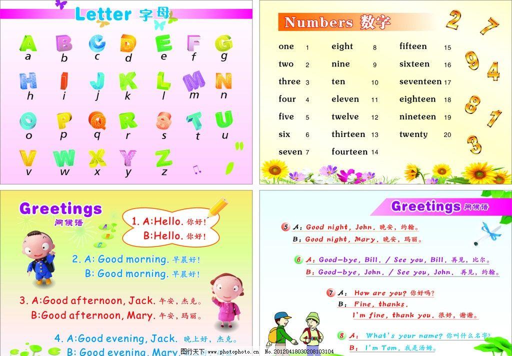 小学英语 单词 字母表 数字1    问候语 小学生卡通人物 鲜花 展板