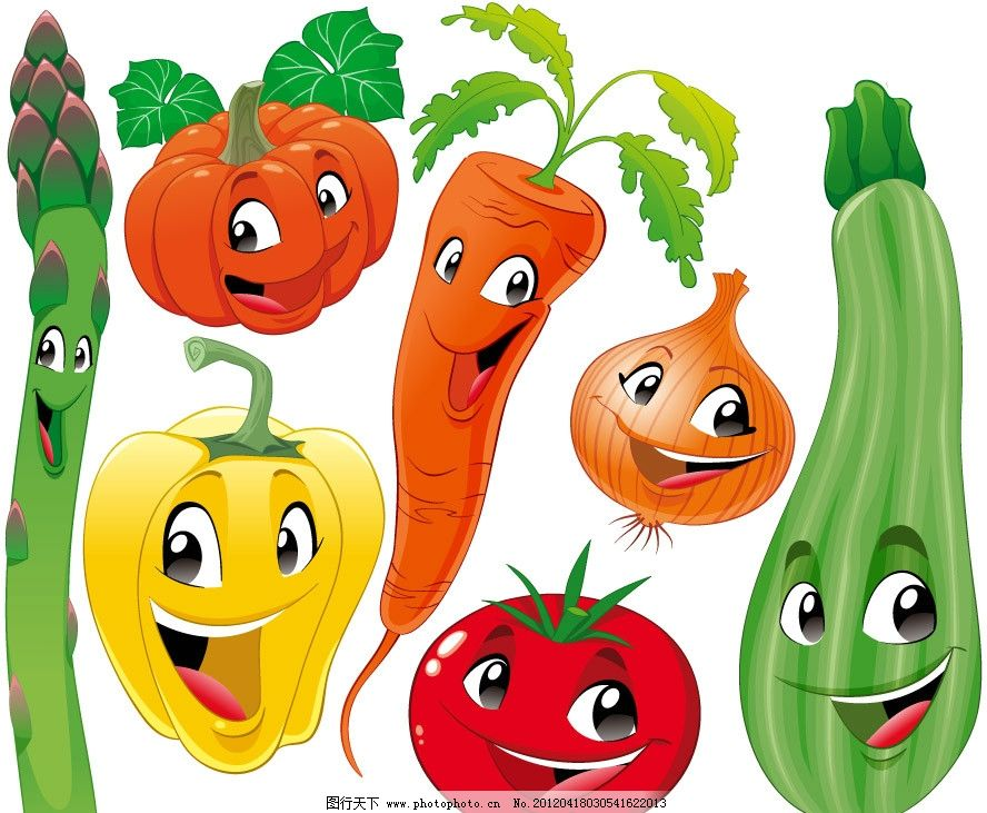 可爱蔬菜表情矢量 南瓜 青椒 红萝卜 西红柿 西葫芦 蔬菜 可爱 卡通
